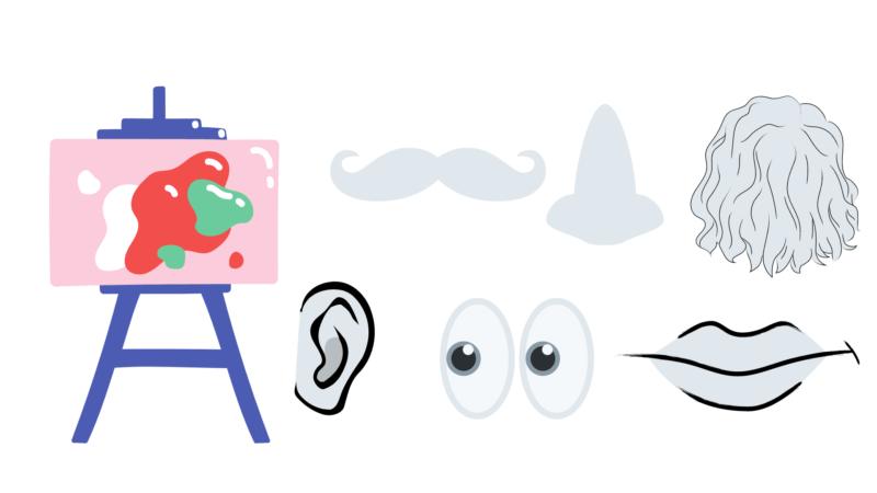 mustață, nas, păr, ureche, ochi, gură, pictat, culori